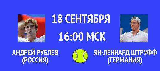Бесплатный прогноз на теннисный турнир Андрей Рублев (Россия) – Ян-Леннард Штруфф (Германия) 18 сентября