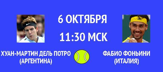 Бесплатный прогноз на теннисный матч Хуан-Мартин дель Потро (Аргентина) – Фабио Фоньини (Италия) 6 октября