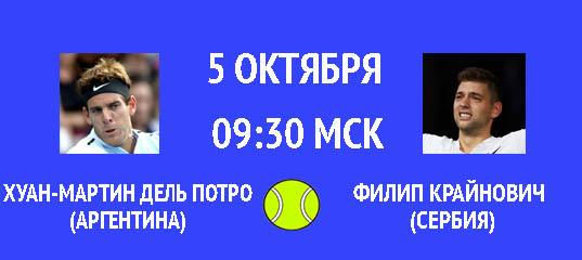 Бесплатный прогноз на матч по теннису Хуан-Мартин дель Потро - Филип Крайнович 5 октября