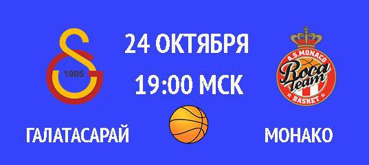 Бесплатный прогноз на баскетбольный матч Галатасарай – Монако 24 октября