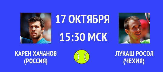 Бесплатный прогноз на теннисный турнир Карен Хачанов (Россия) – Лукаш Росол (Чехия) 17 октября