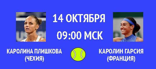 Бесплатный прогноз на теннисный турнир Каролина Плишкова (Чехия) – Каролин Гарсия (Франция) 14 октября