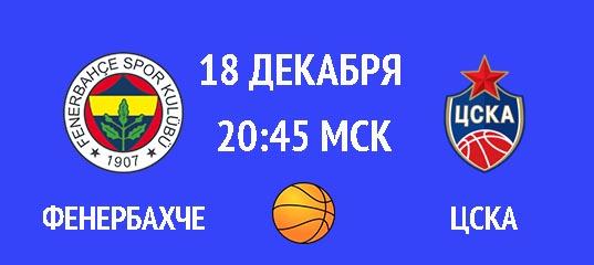 Фенербахче – ЦСКА 18 декабря