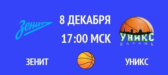 Зенит – УНИКС 8 декабря