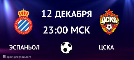 Эспаньол – ЦСКА 12 декабря