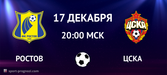 Ростов – ЦСКА. Прогноз на 17 декабря